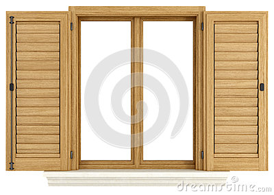 Wooden window with open shutter