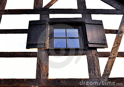 Wooden window in perspective