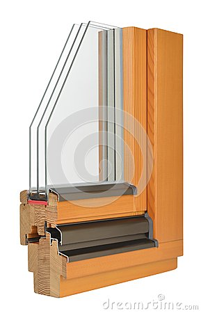 Free Wooden Window Profile With Tripple Glazing Royalty Free Stock Image - 42297256
