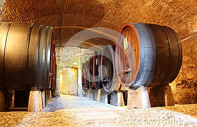 Wooden wine barrels in a cellar