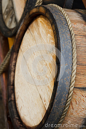 Wooden wine barrels
