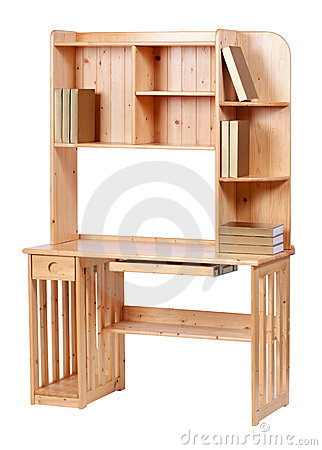 Wooden workstation over white, with clipping path