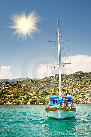 Free Wooden Yacht In The Bay. Turkey. Kekova. Royalty Free Stock Photography - 12469977