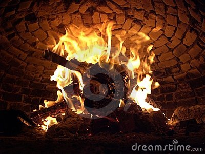 Woodenfire in the oven
