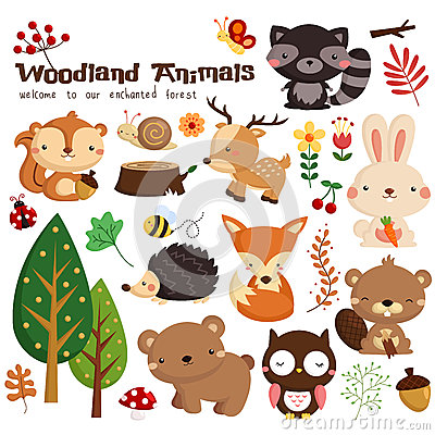 Free Woodland Animal Vector Set Stock Images - 47690274