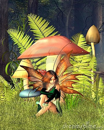 Free Woodland Mushroom Fairy With Forest Background Royalty Free Stock Images - 14601239