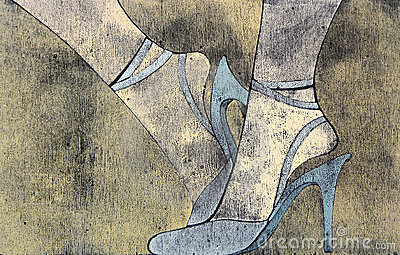Woodprint of woman s legs wearing sandals.
