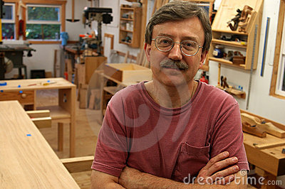 Woodworker in His Shop
