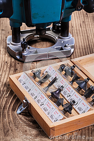Free Woodworking Tools - Roundover Router Bits In Wooden Box And Plun Royalty Free Stock Photos - 43941128