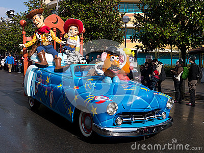 Woody and Jess in Disneys Stars and Cars Parade Editorial Stock Image