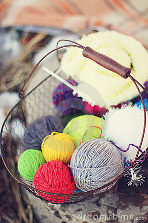 Wool in basket