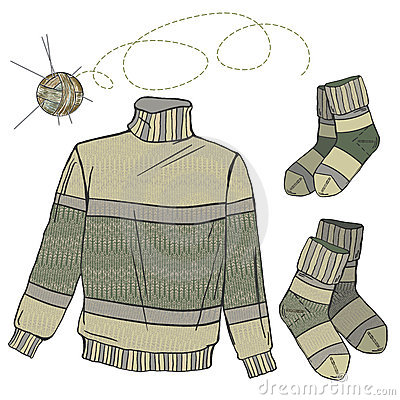 Wool sweater and socks