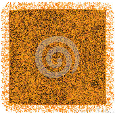 Woollen orange blanket with fringe