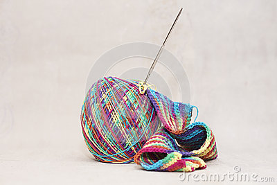 Woollen thread and knitting needle. Needlework accessories