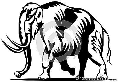 Woolly mammoth woodcut style