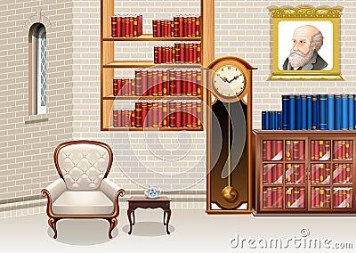 Woonkamer met boekenrekken en furnitures vector illustratie afbeelding 62827769 - Eigentijdse badkuip ...