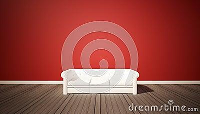 Woonkamer rode muur en donkere houten vloer met witte bank stock foto afbeelding 64203530 - Witte meubels en rode ...