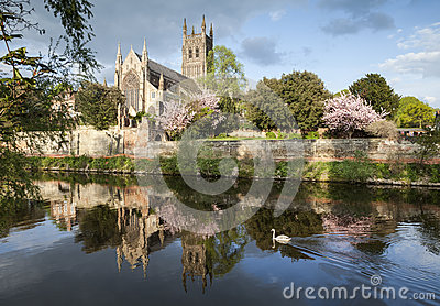 Worcester Cathedral on a Fine Spring Evening
