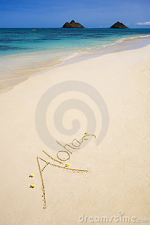 The word aloha is written on sand