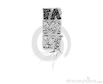 Word Art Illustration. Text Family stylized as a tree with roots Stock Photo