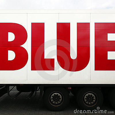 Word blue on lorry or truck