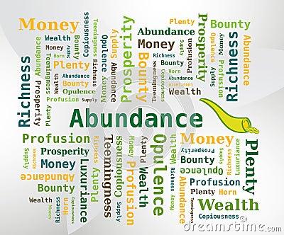 Word Cloud - Abundance with Horn of Abundance Icon