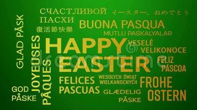 Word cloud animation - happy easter - green yellow. Word cloud animation - happy easter in different languages - green yellow