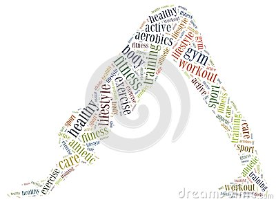 Word cloud illustration related to fitness or sport activity