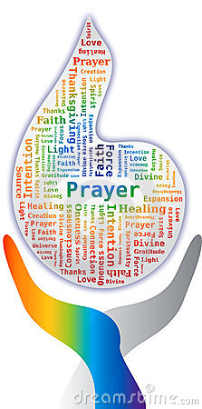 Word Cloud - Prayer in Flame Shape with Hands