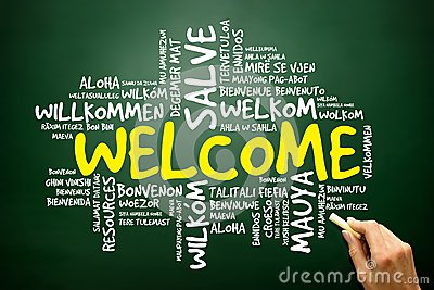 Word cloud of WELCOME in different languages, business concept Stock Photo