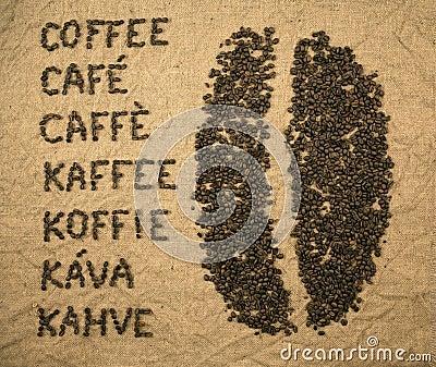 Word coffee with coffee bean