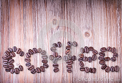 The word COFFEE made out of roasted coffee beans