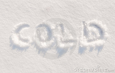 Word cold written in snow