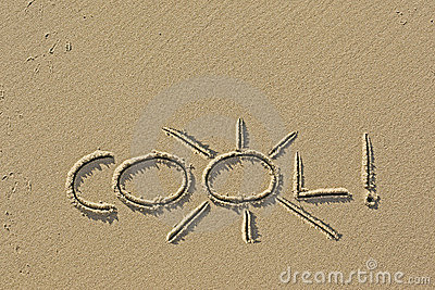 Word cool! concept drawing in the sand