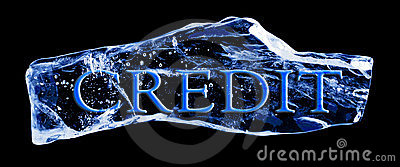 Word CREDIT frozen in the ice