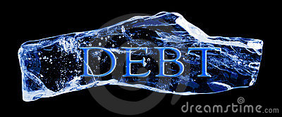 Word DEBT frozen in the ice