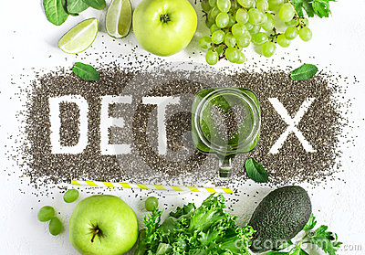 Word detox is made from chia seeds. Green smoothies and ingredients. Concept of diet, cleansing the body, healthy eating Stock Photo