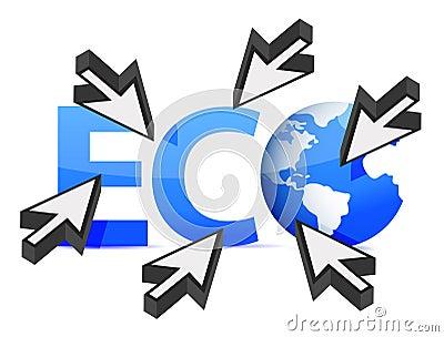 Word Eco globe and cursor illustration design