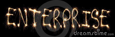 Word enterprise written sparkler