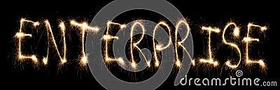 Word enterprise written sparkler