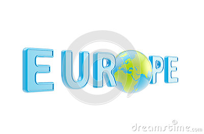 Word Europe symbol with earth globe