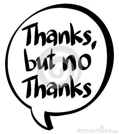 Word expression for thanks but no thanks Vector Illustration
