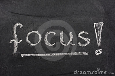 Word focus on blackboard