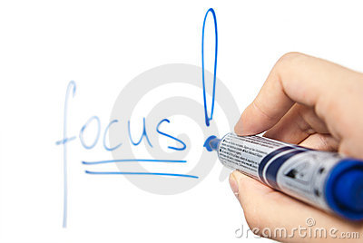 Word focus on whiteboard with focus on hand