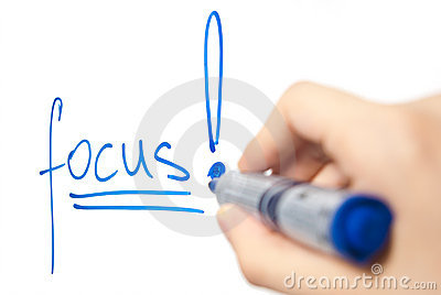 Word focus on whiteboard with focus on the word