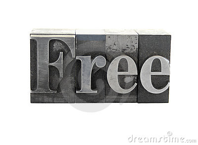The word  Free  in metal type