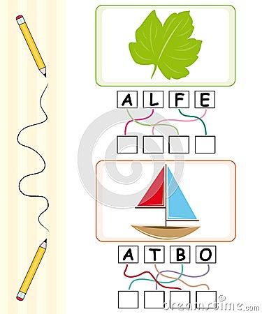Word game for kids - leaf & boat