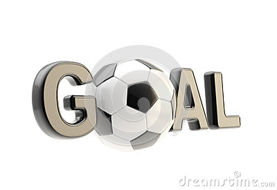Word goal with the football soccer ball