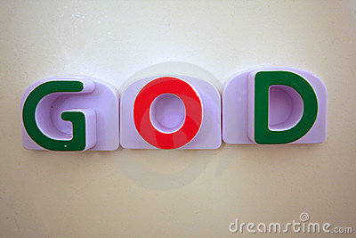 The word GOD in green and red