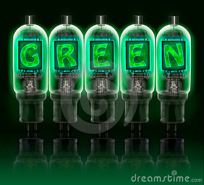 Word GREEN made with bulbs with glowing letters